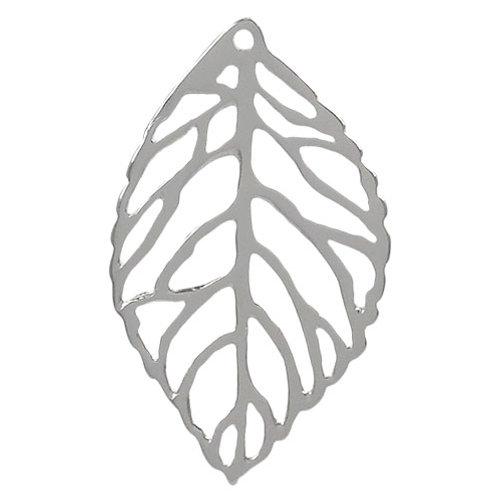 925 Smooth Flat Leaf Shape Charm