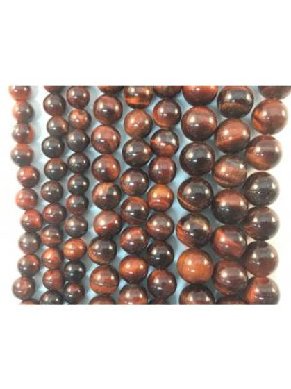 Natural Red Tigers Eye Beads 8mm