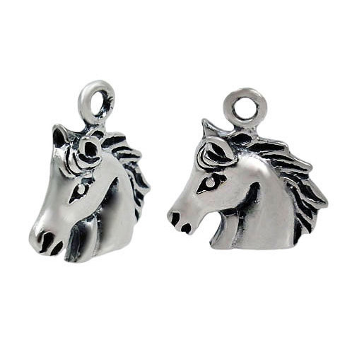 925 Oxidized Finish, Horse Head Charm With 3mm Loop