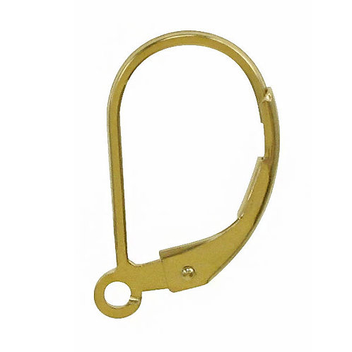 14KGF Plain Lever Back Earring Wire With Ring Sold In Pairs