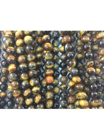 Natural Blue-Yellow Tigers Eye Beads 6mm
