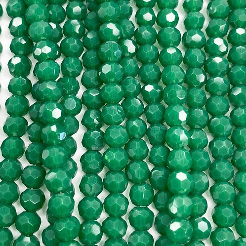 Green Large Facetted Round Glass Beads 6mm
