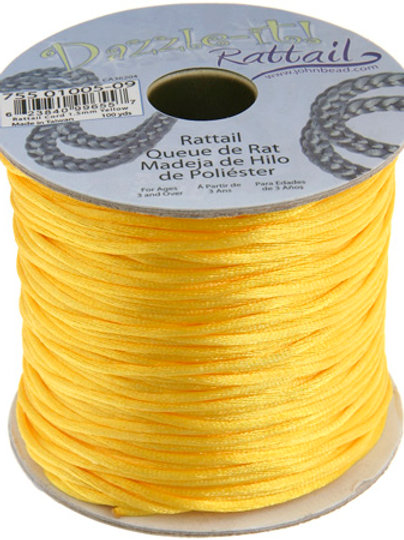 Rattail Cord 1.5mm Yellow 100yds