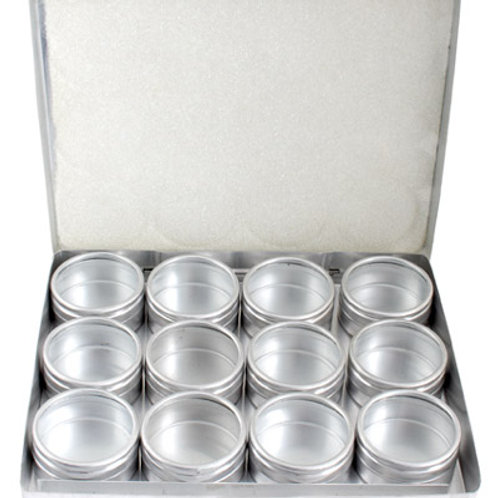 ALUMINIUM BOX WITH 12 PIECES CONTAINERS 41mm W/CLEAR LID