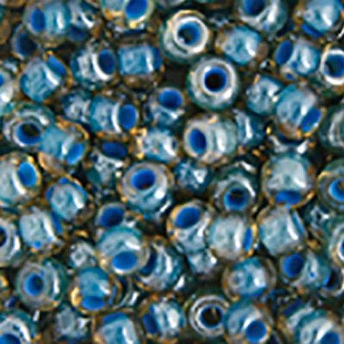 Czech Seed Beads  2/0 TOPAZ/BLUE LINED