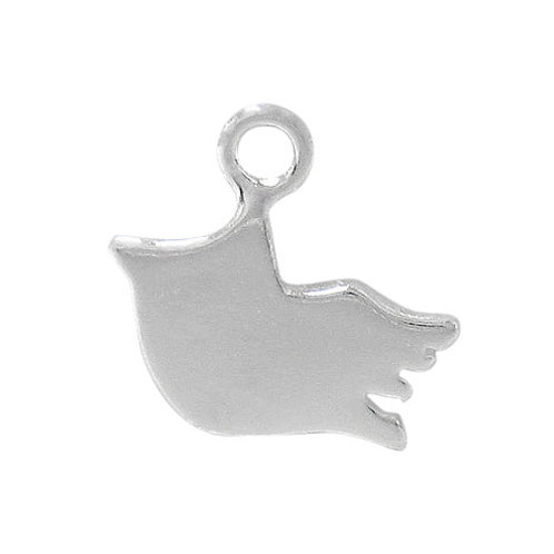 925 Flat Dove Charm With 3mm Loop