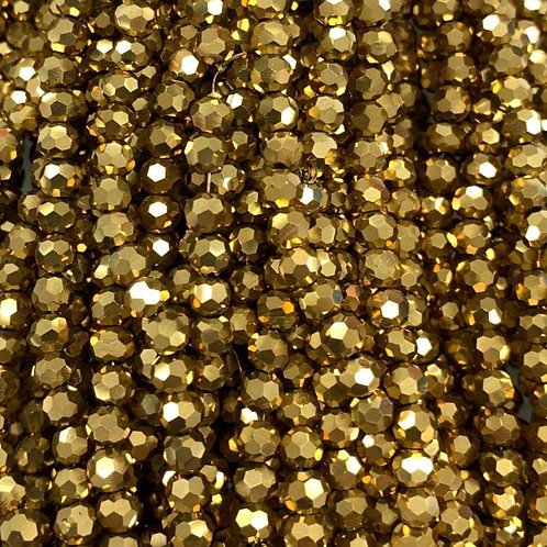 Gold Large Facetted Round Glass Beads 4mm