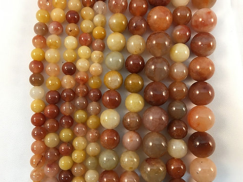 Natural Multi-Color Jade Beads 10mm