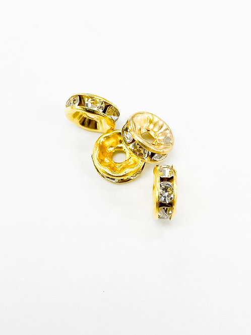 50pc Gold Rhinestone Spacers 6mm