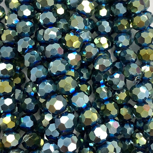 Metallic Green-Blue Large Facetted Round Glass Beads 4mm