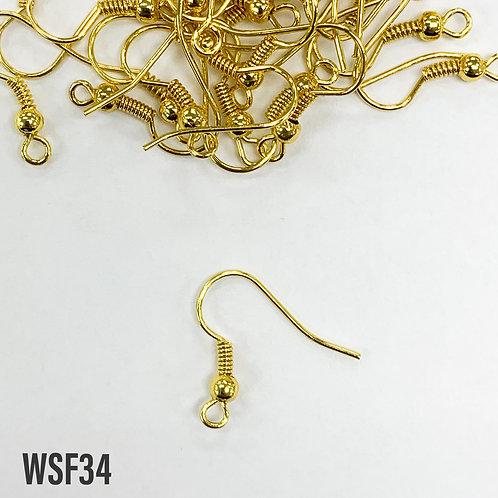 19mm L x 0.7mm T Yellow Gold Shepherd Hook Earring