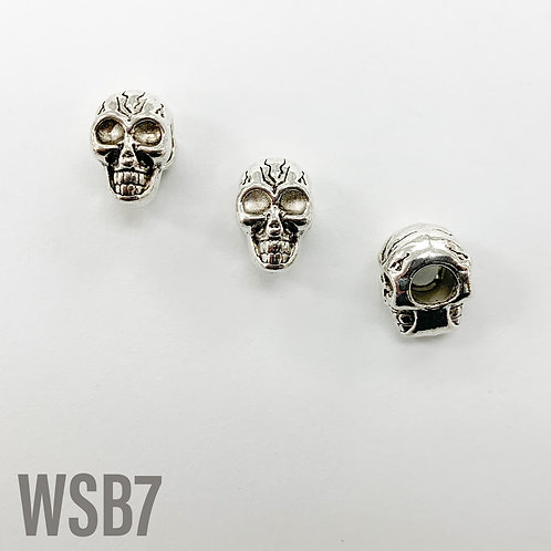 12mm L x 10mm T x 8mm W Rhodium Skull With Cracks Spacer
