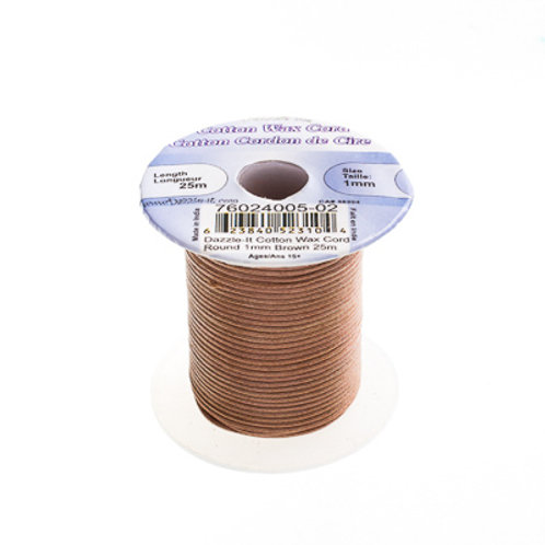 Cotton Wax Cord 1mm Brown 25m