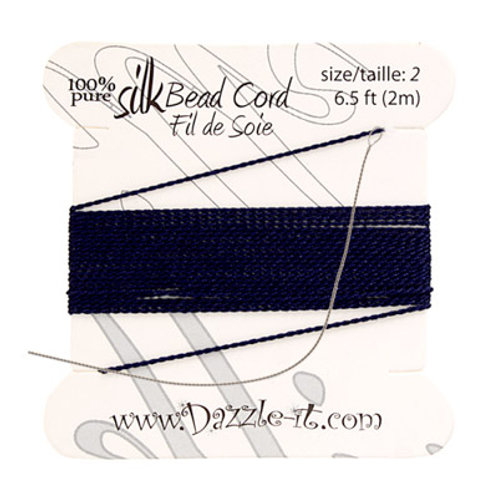 Silk Bead Cord w/Needle (0.45mm) Navy