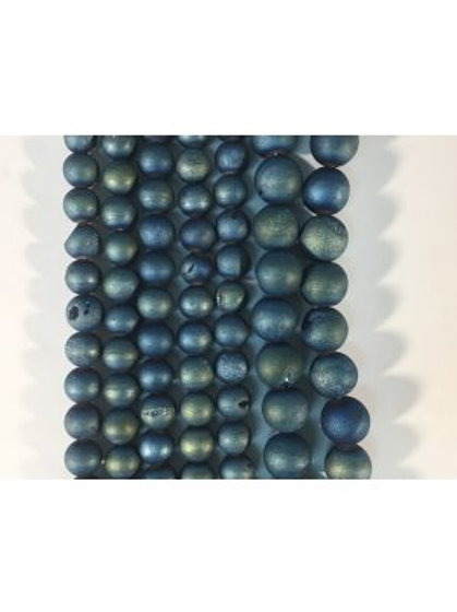 Blue-Green Druzy Beads 6mm