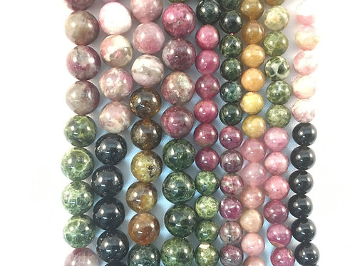 Natural Rainbow Tourmaline Beads 8mm