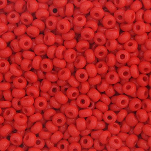 Czech Seed Beads 8/0 OP. LT. RED