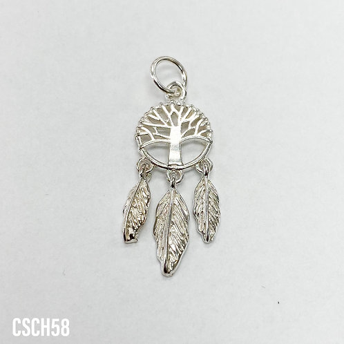 925 Tree Of Life Shield With Hanging Feathers Charm
