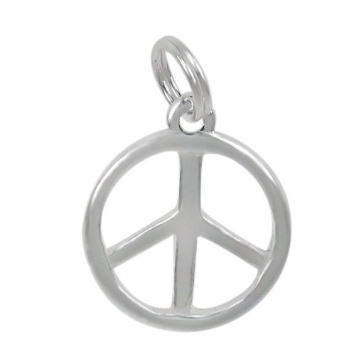 925 Smooth Peace Sign Charm With a 5mm Diameter Loop