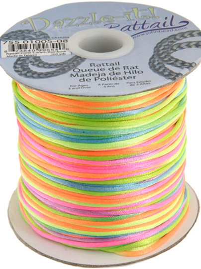 Rattail Cord 1.5mm Rainbow 100yds