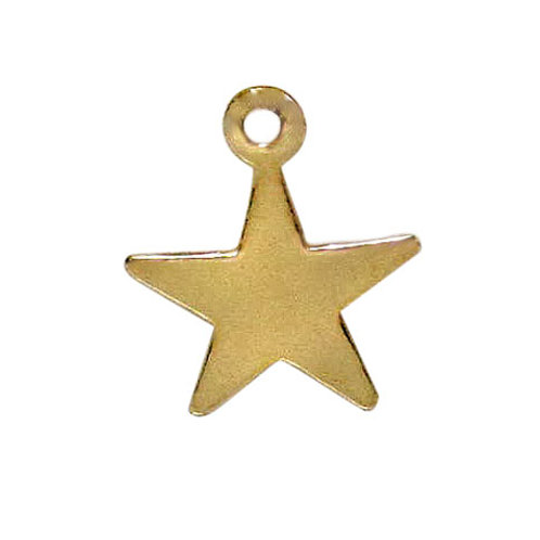 14KGF Flat Star Charm With 2mm Loop