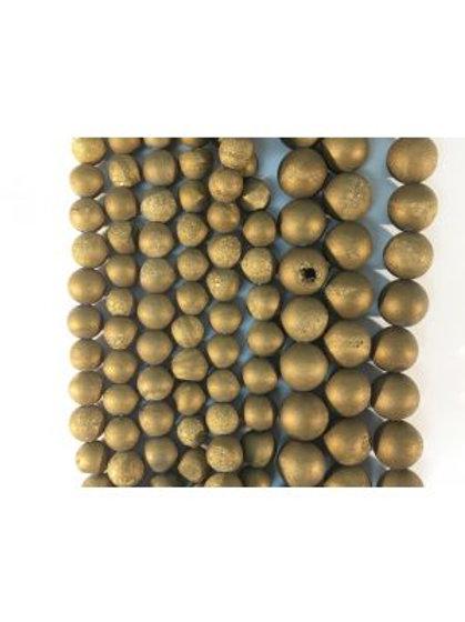 Gold Druzy Beads 6mm