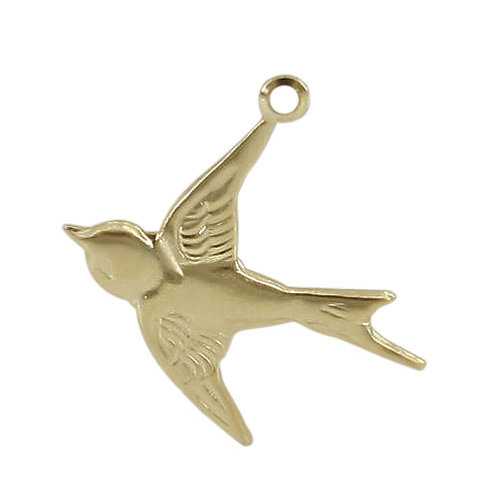 14KGF Dove Charm With 2mm Loop