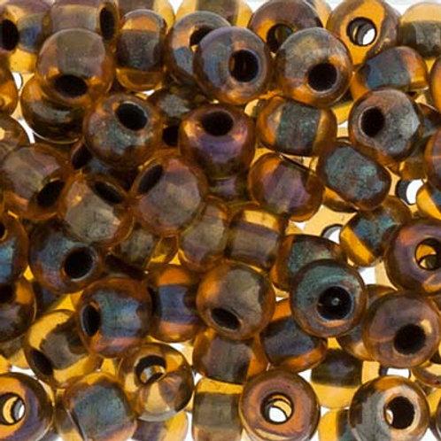 Czech Seed Beads  2/0 TOPAZ/BLACK LINED AB