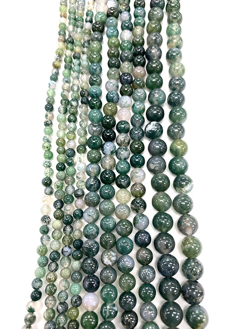 Natural Moss Agate Beads 4mm