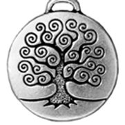 T.C. CHARM TREE of LIFE 22mm ANT. SILVER 5pc