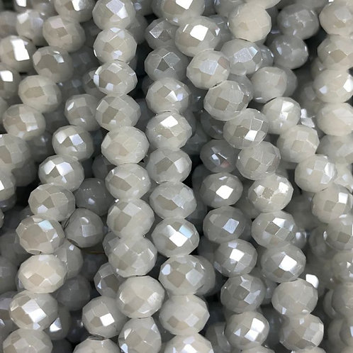 Grey Luster Facetted Glass Rondell Beads 8mm