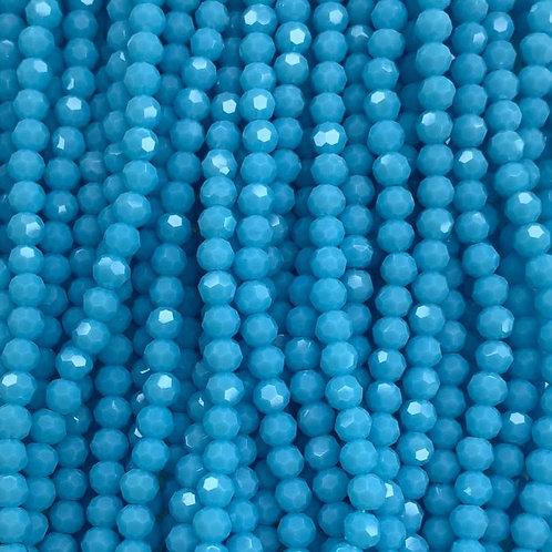 Blue Large Facetted Round Glass Beads 6mm