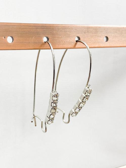Rhinestone Kidney Ear Wire Rhodium