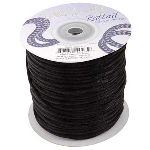RATTAIL CORD 2mm Black 100y