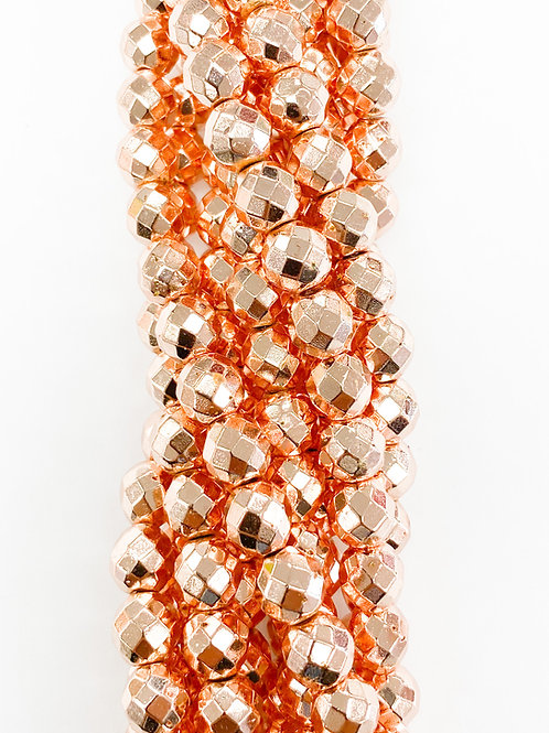 8mm Round Faceted Rose Gold Electroplated Hematite