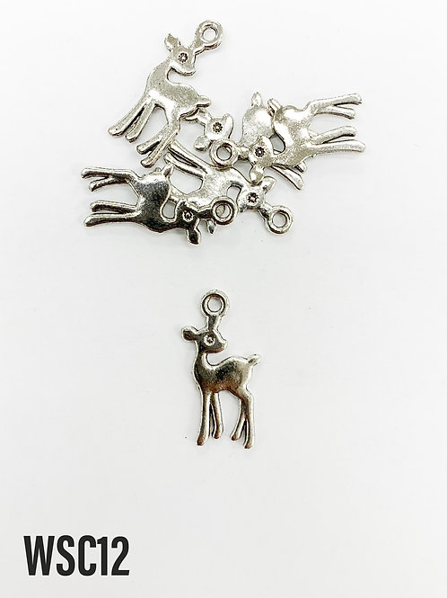 21mm L x 1mm T Rhodium Deer Charm