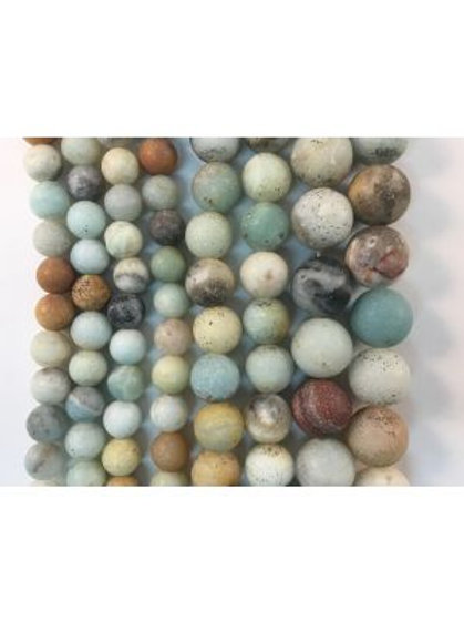 Natural Matte Amazonite Beads 6mm