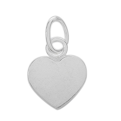 925 Flat Heart Charm 7mm