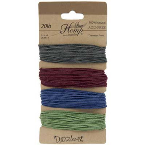 Hemp 100% 1mm 20lb Pastel Colours