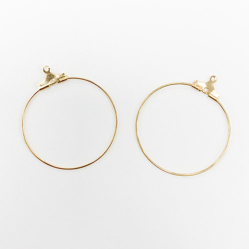 30mm Wire Earring Component Light Gold