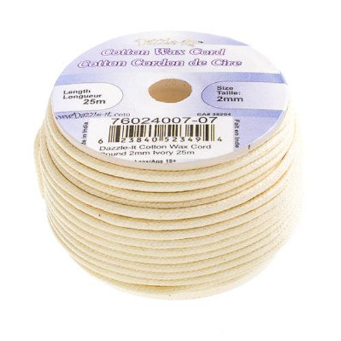 Cotton Wax Cord 2mm Ivory 25m