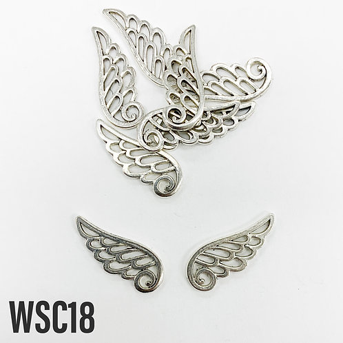 25mm L x 2mm T Rhodium Outlined Wing Charm