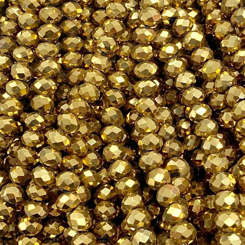 Gold Facetted Rondell Glass Beads 4mm