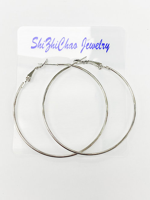 50mm Silver Hoops For Beading Around, 1.35mm Thickness