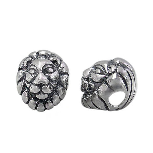 925 Oxidized Finish Lion Head Bead With 3mm Hole