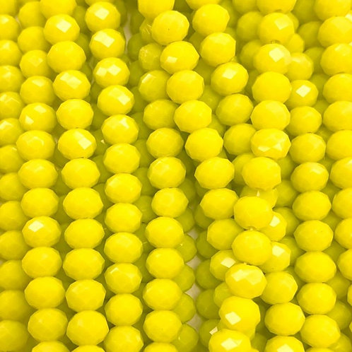 Yellow Facetted Rondell Glass Beads 8mm
