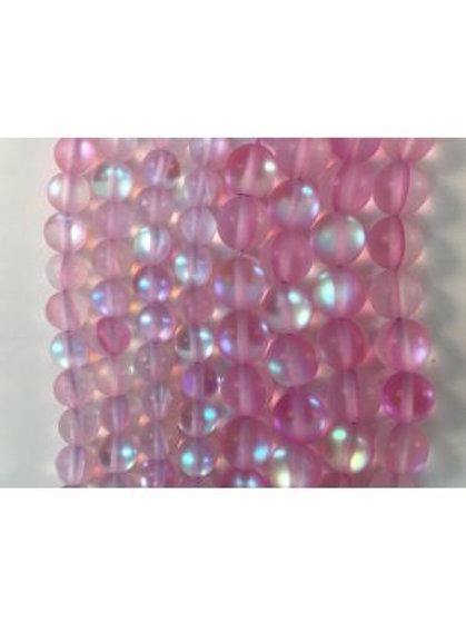 Matte Pink Moon Light QZ (MM) Beads 6mm
