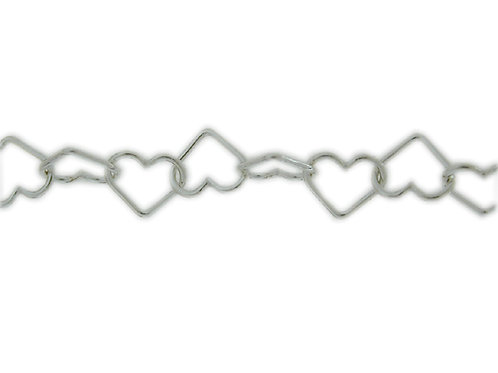 Heart Link Chain Sold By The Foot.