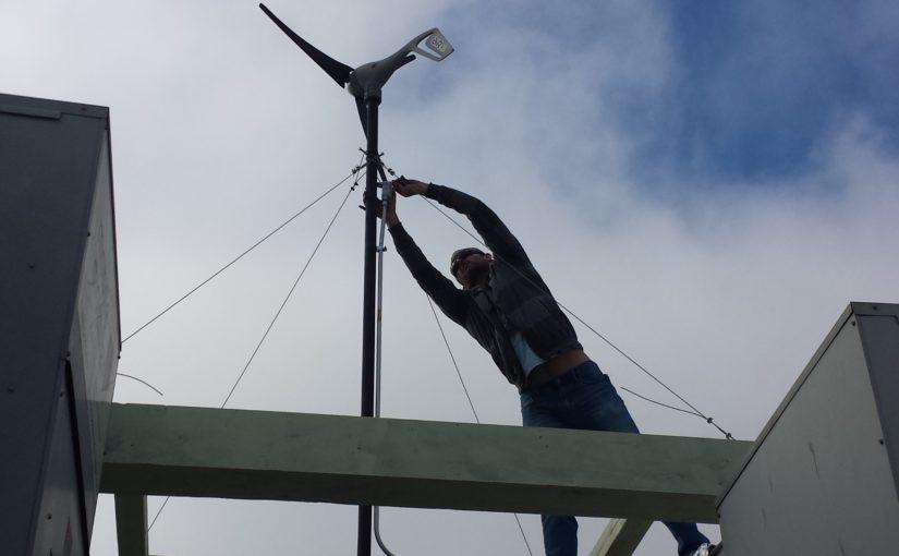 Wind turbine atop the AVS Hangars