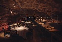 Middagsdukning i matsalsdelen i Bergrummet på Skeppsholmen